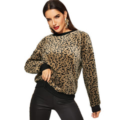 Leopard Print Drop Shoulder Pullover Women Autumn Casual Sweatshirt Long Sleeve Tops Fashion Women's Sweatshirts