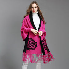 Women  Autumn Winter Tassel Knitted Poncho Cardigan Lady Bat Sleeves Wedding Cloak Sweater Knitted cardigan Shawl