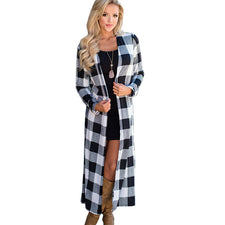 Autumn Women Cardigan Plaid Long Coats and Jackets Casual Loose Ladies Sweaters Long Sleeve Party Cardigan Outwear