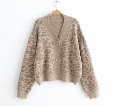Vintage V neck Contreast color Leopard Cardigan Sweater Long sleeve Knitwear Causal New Women Knitted Jumper