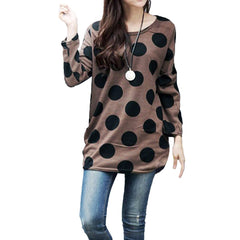 Polka Dot Pullover Sweaters Women Knitted Long Tops Autumn Plus Size Loose Jumpers female tunics