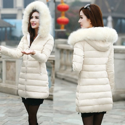 Costbuys  Women's coat long cotton padded lady's thicker cotton jacket down parka - White / 5XL