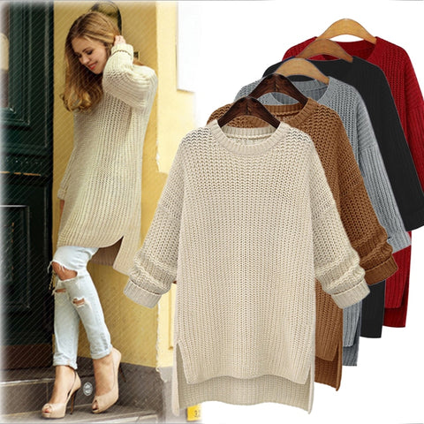 Autumn Winter Women Long Knitted Sweaters and Pullovers Long Sleeve Casual  Shirts Female Jumper Solid Loose Tops Pull 458e6d9e6862