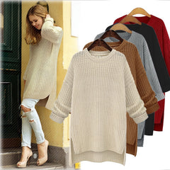 Autumn Winter Women Long Knitted Sweaters and Pullovers Long Sleeve Casual Shirts Female Jumper Solid Loose Tops Pull
