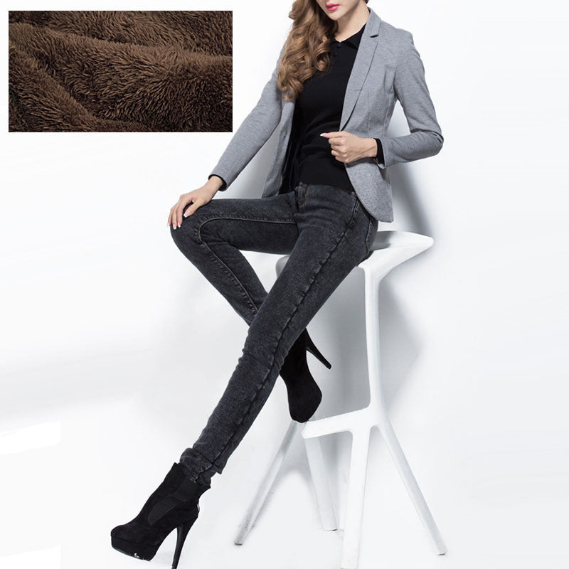 c117a46a9 Winter Warm Extra Long Black Fleece Pencil Jeans For Tall Girl Inseam High  Waist Skinny Pants Over Length Leggings