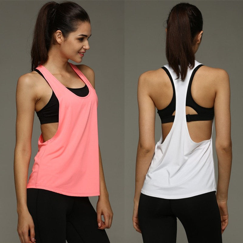 8 Summer Colors Sexy Women Tank Tops Quick Dry Loose Fitness Movement Sleeveless Vest Singlet for Exercise Workout T-shirt