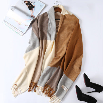 Costbuys  Cashmere Scarf Plaid Wool Scarves for Women Winter Warm Female Poncho Cape Pashmina Shawls - as photo / 200X70cm