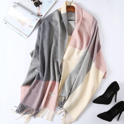 Costbuys  Cashmere Scarf Plaid Wool Scarves for Women Winter Warm Female Poncho Cape Pashmina Shawls - as photo 1 / 200X70cm