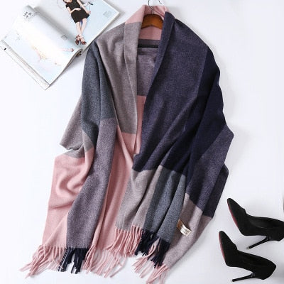 Costbuys  Cashmere Scarf Plaid Wool Scarves for Women Winter Warm Female Poncho Cape Pashmina Shawls - as photo 2 / 200X70cm