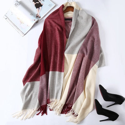 Costbuys  Cashmere Scarf Plaid Wool Scarves for Women Winter Warm Female Poncho Cape Pashmina Shawls - as photo 3 / 200X70cm