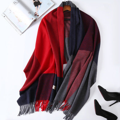 Costbuys  Cashmere Scarf Plaid Wool Scarves for Women Winter Warm Female Poncho Cape Pashmina Shawls - as photo 4 / 200X70cm