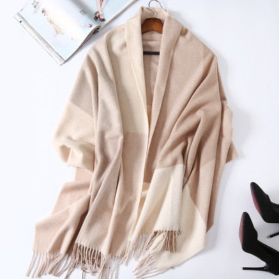 Costbuys  Cashmere Scarf Plaid Wool Scarves for Women Winter Warm Female Poncho Cape Pashmina Shawls - as photo 5 / 200X70cm