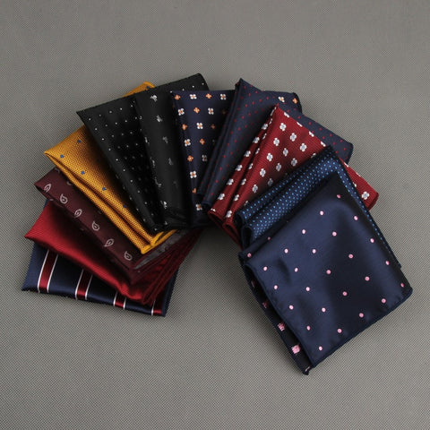 Classic Polka Dots Stripe Handkerchief Wedding Polyester Printed Hanky Men's Fashion Business Suits Pocket Square Towel 23*23CM