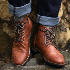 Men Boots Autumn Winter Shoes Men Lace-up Boots PU Leather Male