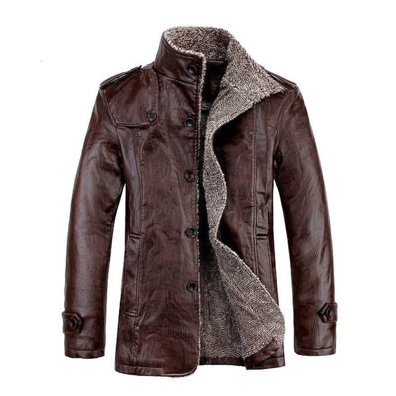 M-4XL New Winter PU Leather Casual Jackets Men Thermal Coats Male Faux Leather Jackets Warm Brand Clothing