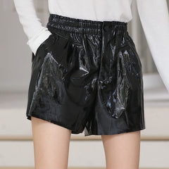 High Waist Shorts Women Street Style Wide Leg PU Leather Shorts Black Short Pants