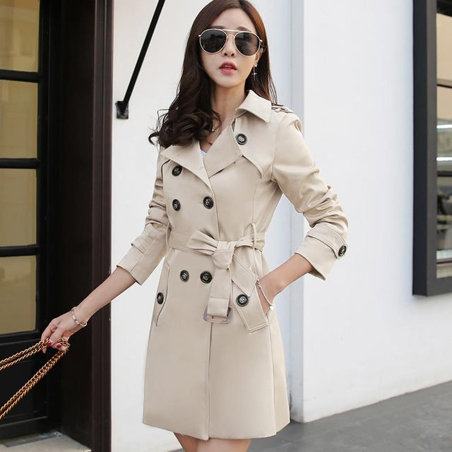 Costbuys  Autumn England Style Trench Coat For Women Fashion Slim long Double Breasted Coat Ladies Casual  with belt - Beige / 4