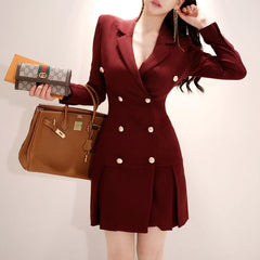 Women's jacket OL temperament double-breasted Slim professional long-sleeved fashion suit jacket female