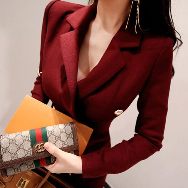 Costbuys  Women's jacket OL temperament double-breasted Slim professional long-sleeved fashion suit jacket female - 2 / L