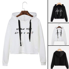 Hoodies Sweatshirt Tops Pullovers How You Doin Letter Printed Crop Tops Hooded Women Harajuku Black Hoody Hoodie Sweat Femme
