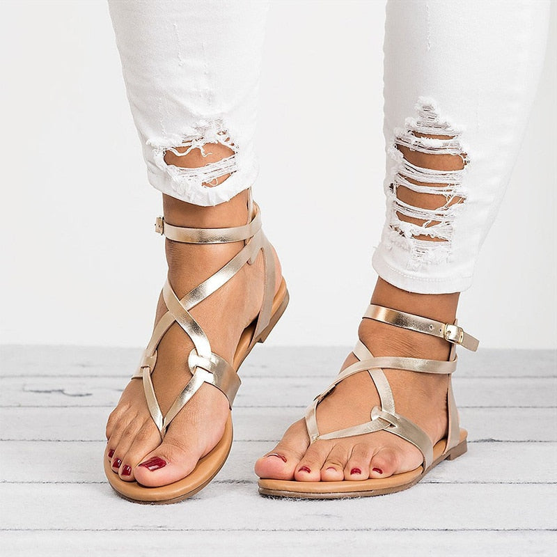Summer Flat Shoes Woman Sandals Gladiator Beach Women Shoes Female Soft