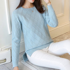 Sweater women's  long sleeved Pullover female loose knit short shirt coat blouse