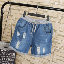 Summer Ripped Jeans Short Pants Women Casual Lace Up Capris Ladies Wide Leg Denim Jeans Harem Pants