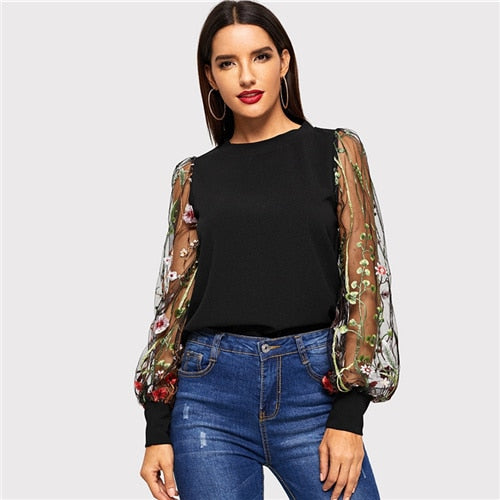 Costbuys  Black Embroidered Flower Sheer Mesh Top Women Long Sleeve Blouse Shirt Womens Tops Casual Ladies Blouses & Shirts - Bl