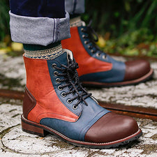 Male Lace Up Warm Ankle Boots Men Pu Leather Boots Winter Men Shoes