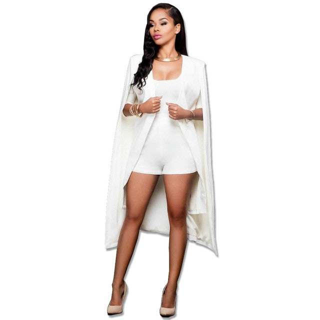 Costbuys  Blazer Cape Coats Long Solid Cloak OL Blazer Jackets Popular Black Cape Blazers Personality Woman Suit Jackets - white