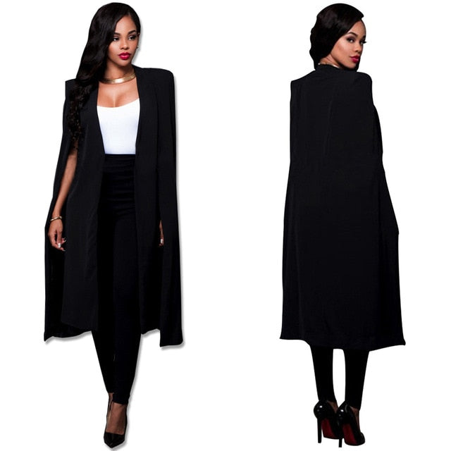 Costbuys  Blazer Cape Coats Long Solid Cloak OL Blazer Jackets Popular Black Cape Blazers Personality Woman Suit Jackets - black