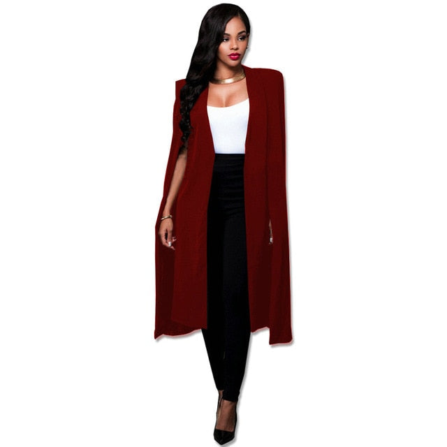 Costbuys  Blazer Cape Coats Long Solid Cloak OL Blazer Jackets Popular Black Cape Blazers Personality Woman Suit Jackets - wine