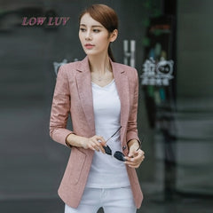 Small suit female spring and autumn new Korean casual long sleeve suit Slim cotton and linen suit jacket