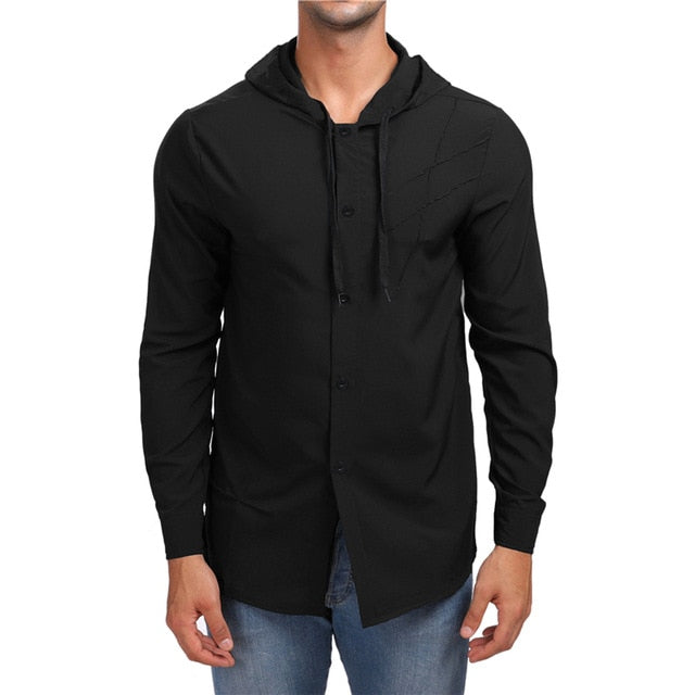 Costbuys  Hooded Mens Shirt Spring New Cut Solid Color Long Sleeve Streetwear Casual Slim Fit Shirt Cotton Men Clothes - Black /