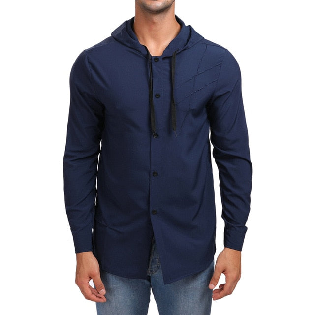 Costbuys  Hooded Mens Shirt Spring New Cut Solid Color Long Sleeve Streetwear Casual Slim Fit Shirt Cotton Men Clothes - Navy /