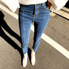 Spring Summer Irregular Stretch Patchwork Denim Jeans Women Skinny Tassel High Waist Pants Capris Female Pencil Jeans