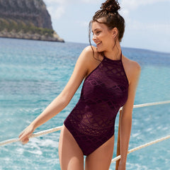 Lace Sexy Women One Piece Swimsuit Solid Female Swimwear Women Black Hollow Out Monokini Bathing Suit Beachwear XL
