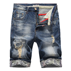 Summer Men's Slim Denim Shorts Elasticity Casual Old Ripped Jeans Short Male  Clothes