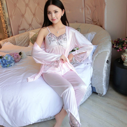 Summer Satin Pajama Set Women Soft Silk 3 Set Lace Halter Tops Sexy  Sleepwear For Man Spaghetti Strap 3 Piece Nightwear b4be1c362