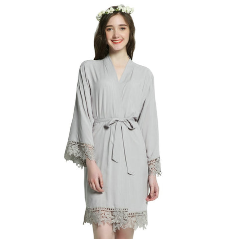 21e09e089c Solid Cotton Kimono bridesmaid Robes With Lace Trim Women Wedding Bridal  Robe Short Belt Bathrobe Sleepwear