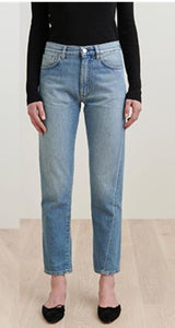Ultra fire asymmetrically cut vintage straight nine-point jeans pants
