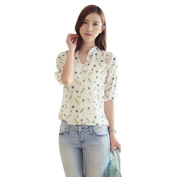 Summer Autumn Women Girl Long Sleeve Chiffon Shirt OL Lady Casual Blouse Tops S-XL NEW