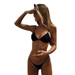Low Waist Women Padded Bra G-string Thong Bikini Swimwear Two Pieces Swimsuit Swimwear Brazilian Bikini Set