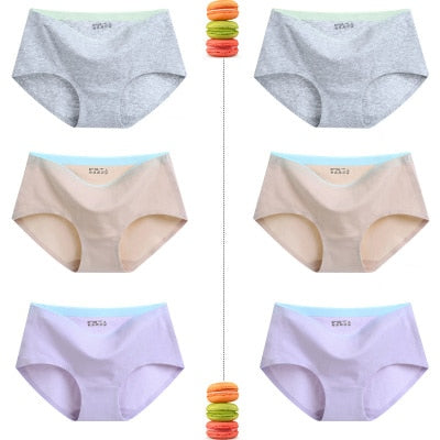 6 Pcs/lot women's panties sexy briefs seamless panties Comfortable woman panties girl cotton breathable panty briefs for women
