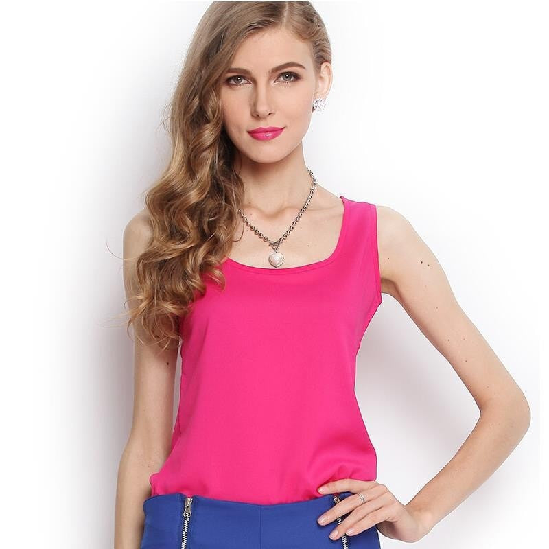 Summer Style New 5 Size Fashion Women Chiffon Tank Tops Vest Shirts Solid Candy 16 Color Camisole Chiffon Blusas Top Shirt