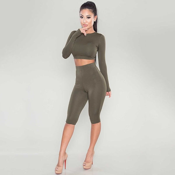 New 2016 Winter Women Two Piece Bodycon Jumpsuit Knee Length Long Sleeve Black Playsuit Sexy Club Elegant Rompers And Jumpsuits