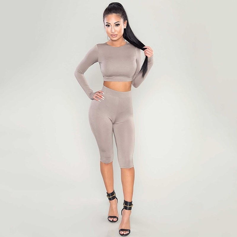 dd56e734f78 New Winter Women Two Piece Bodycon Jumpsuit Knee Length Long Sleeve Black  Playsuit Sexy Club Elegant