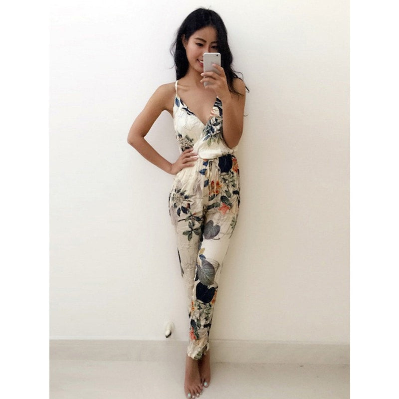Flowers Printed Deep V-Neck Jumpsuit Backless Condole Belt Jumpsuits Strapless Ankle-Length Pants Overalls Casual Rompers Women