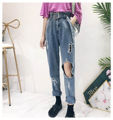 Women's new fashion wild high waist jeans women's solid color loose straight hole jeans + sashes