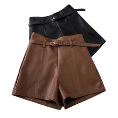 Casual PU Leather Shorts For Women High Waist Sashes Wide leg Shorts Spring Autumn Loose Elastic Waist Leather Shorts